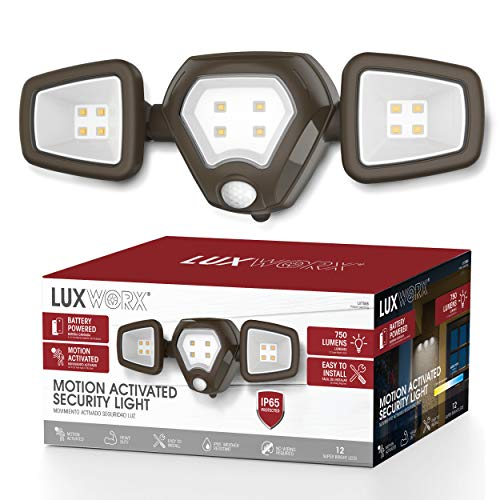 LUXWORX Outdoor Motion Sensor Light 750 Lumens - Ultra Bright Three-Headed Battery Power Motion Sensor Light for Indoors or Outdoors - Install Anywhere Keep Your Property Safe - Sensor Lights Outdoor