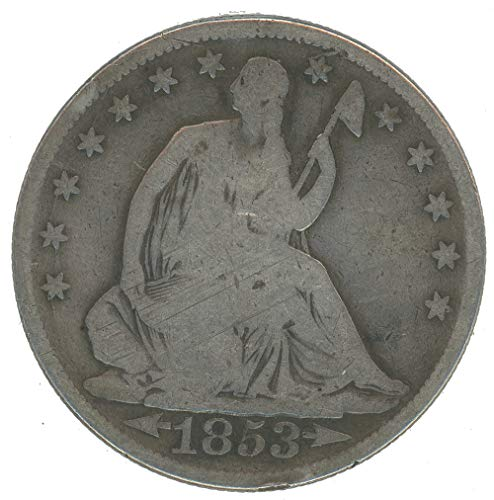 (1853 P Seated Half Dollar with arrows and rays 50c Good+ )