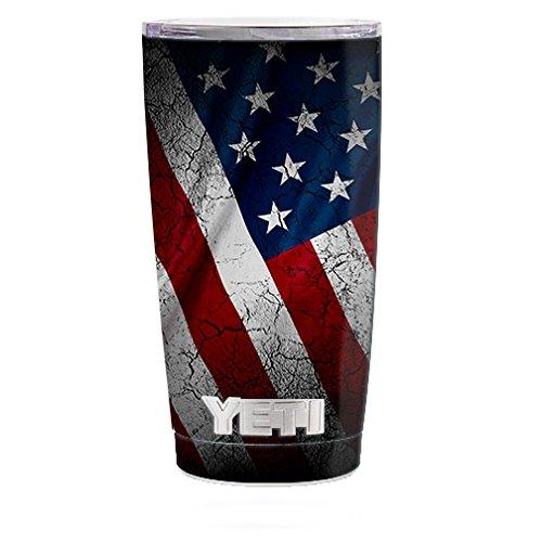 Skin Decal Vinyl Wrap (5-piece kit) for Yeti 20 oz Rambler Tumbler Cup / American Flag distressed