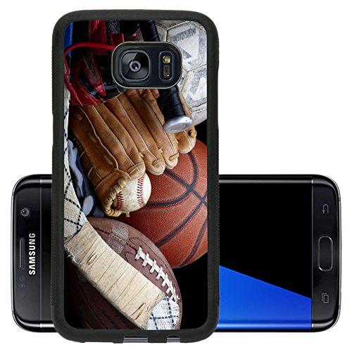 Luxlady Premium Samsung Galaxy S7 Edge Aluminum Backplate Bumper Snap Case IMAGE ID 6832161 Close up shot of old soccer ball basketball baseball football bat hockey stick baseball glove and cleats