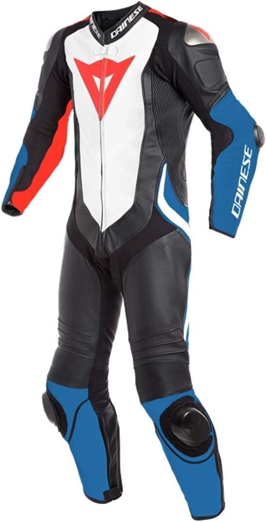 Dainese Laguna Seca 4 - Traje de motorista (1 piezas, piel perforada), color negro, blanco y azul