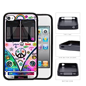 Hippy Mini Van Series V1 Hard Rubber Cell Phone Case Cover iPhone 4 4s (tie dye peace)