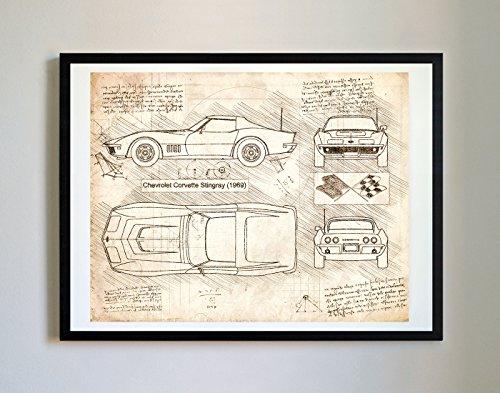 DolanPaperCo #213 Chevrolet Corvette Stingray 1969 Art Print, da Vinci Sketch - Unframed - Multiple Size/Color Options (16x20, Vintage)