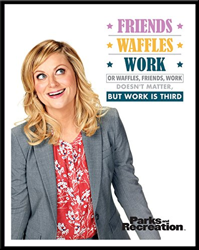 (Culturenik Parks and Recreation Leslie Knope Friends Waffle Work Workplace Comedy TV Television Show Poster Print, Framed 11x14)