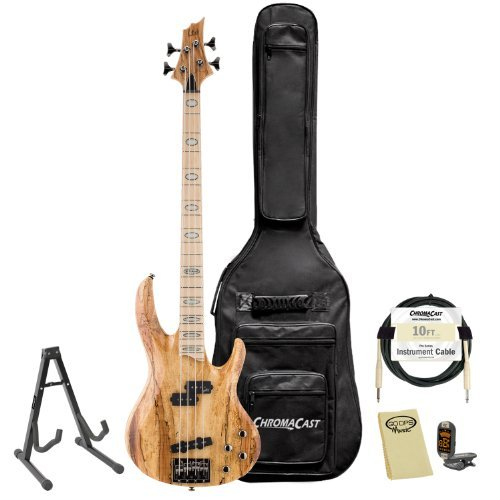 ESP JB-RB-1004SM-NAT-KIT-1 Rocco Prestia Spalted Maple Natural 4-String Electric Bass Guitar Pack by ESP
