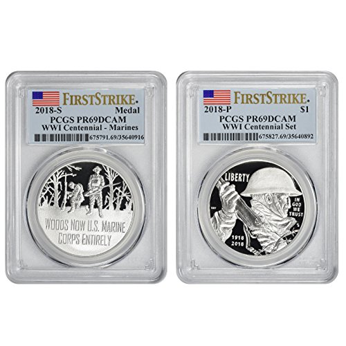 (2018 WWI Centennial Silver Commemorative First Strike Dollar and Marines Medal Set PR69DCAM PCGS)