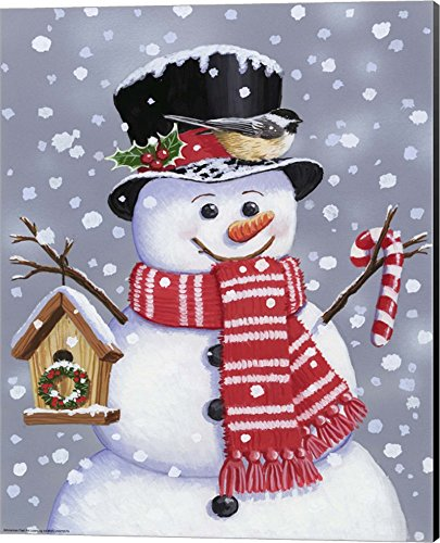 Snowman With Tophat by William Vanderdasson Canvas Art Wall Picture, Museum Wrapped with Black Sides, 16 x 20 inches
