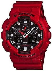 ساعة رقمية جي شوك لون احمر انالوج بعقارب يوضح التوقيت العالمي، مقاس كبير جدًا من كاسيو، موديل GA100B-4A