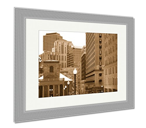 Ashley Framed Prints Boston Kings Chapel In Tremont And School Street, Wall Art Home Decoration, Sepia, 30x35 (frame size), Silver Frame, - Street Shops In Chapel
