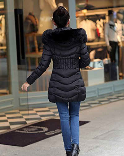 Stand Quilted Outcoat Collar Front Fit Cihui with Jacket Black Slim Women Waterproof Cotton Zipper Blend E4IqBw