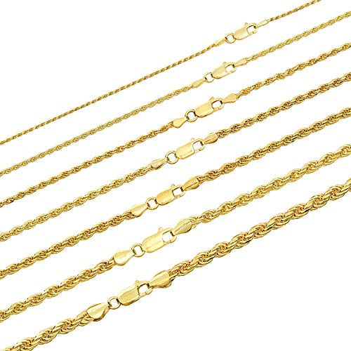 Harlembling Solid 925 Sterling Silver - 14k Gold Plated - Rope Chain - 2mm 3mm 4mm 5mm 18-30
