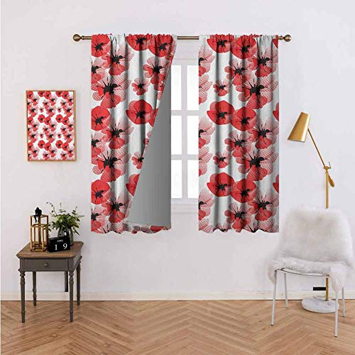 DRAGON VINES Curtains for Bedroom Poppies Retro Halftone Effect Fertility and Eternal Life Symbols Vintage,Thermal Insulated Blackout Curtains W55 x L62
