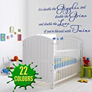 It's Double The Giggles - Children's Wall Decal baby nursey twins (Color: Poppy Size: Large)