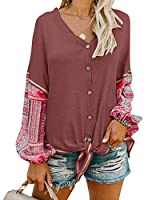 Shele Womens Thermal Henley V Neck Button Down Shirts Boho Print Long Sleeve Tie Front Blouse Tops