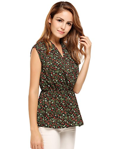 Meaneor Womens Sleeveless Blouse Floral
