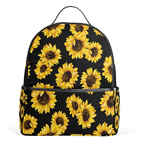 ALAZA Yellow Sunflower Black Polyester Backpack School Travel Bag
