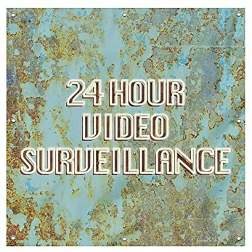 24 Hour Video Surveillance 12x3 CGSignLab Stripes Blue Wind-Resistant Outdoor Mesh Vinyl Banner