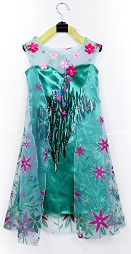 Frozen Fever Elsa Dress Birthday Party Cosplay Girls Costume