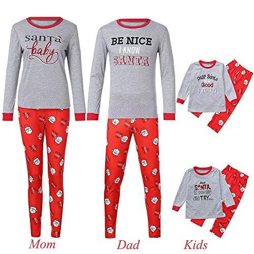 Price comparison product image Seaintheson Family Matching Christmas Pajamas Set,  2PCS Xmas Letter Print Top+Santa Claus Print Pants Homewear Outfits