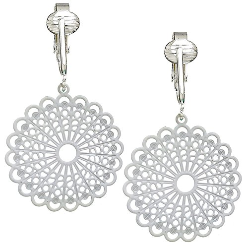 Darling Victorian Filigree Clip On Earrings for Women & Girls Clip-ons, Lacy Rounds, Flowers & Dragonfly (White)