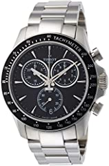 Silver-tone stainless steel case with a silver-tone stainless steel bracelet. Fixed silver-tone stainless steel with a black top ring bezel. Black dial with luminous silver-tone hands and index hour markers. Minute markers around the outer ri...