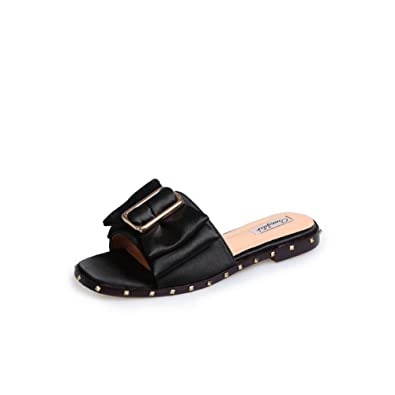 SummerSquare HeadOne-line TypeFlat Sandals/LadyRivet Cool Slippers