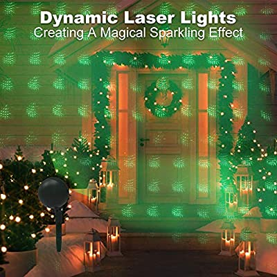 Christmas Lights Projector Laser Light Xmas Spotlight Projectors Waterproof Outdoor Landscape Spotlights for Holiday Halloween Yard Decorations: Home Improvement