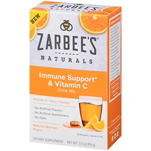 Zarbee's Naturals Immune Support* & Vitamin C Drink Mix with Zinc and Honey, Natural Orange Flavor, 10 Packets