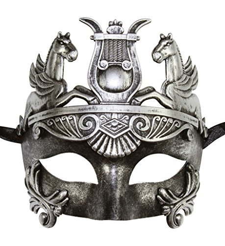 [Masculine Greek & Roman Soldier Men Venetian Masquerade Mask (Vintage Silver)] (Adult Womens Mardi Gras Queen Costumes)