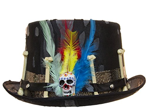 Black Voodoo Hat with (Day Of The Dead Hat)