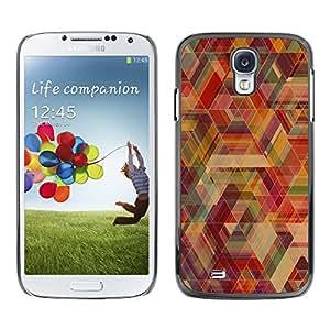 KLONGSHOP // Cubierta de piel con cierre a presión Shell trasero duro de goma Protección Caso - Neon Geometría - Samsung Galaxy S4 //
