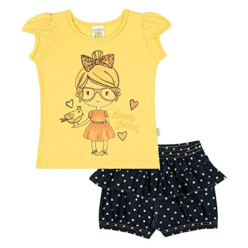 Baby Girl Set Graphic Tee Shirt and Shorts Outfit Pulla Bulla 6-9 Months - Sun