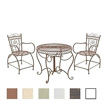CLP Conjunto de Muebles de Jardín Sheela I Set de 2 Sillas & 1 Mesa de Hierro I Juego de Muebles de Exterior en Estilo Rústico I Color: Marrón ...