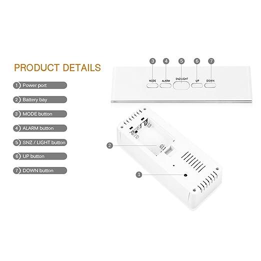 Amazon.com: TOOGOO Multifunctional LED Mirror Clocks Digital Display Time Temperature Night Light Led Alarm Clock Snooze Light-Emitting Rectangle: Home & ...