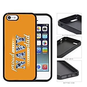 Proud Navy Dad with Blue Camo Letters with Orange Background iPhone 5 5s Rubber Silicone TPU Cell Phone Case