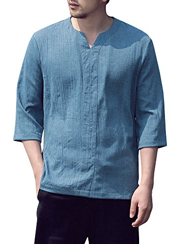 - SySea Mens Vintage Hippie 3/4 Sleeve V Neck Linen Shirts Summer Yoga Tops