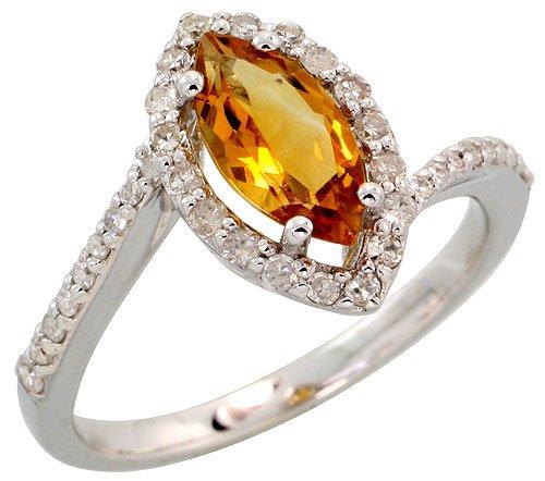 Stone Ring, w/ 0.32 Carat Brilliant Cut Diamonds & 1.17 Carats 10x5mm Marquise Cut Citrine Stone, 1/2
