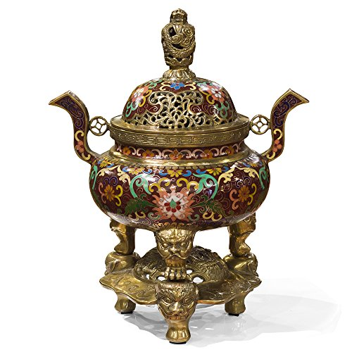 Cloisonne Jar (ChinaFurnitureOnline China Furniture Online Cloisonne Incense Burner, Dragon Motif in Burgundy)