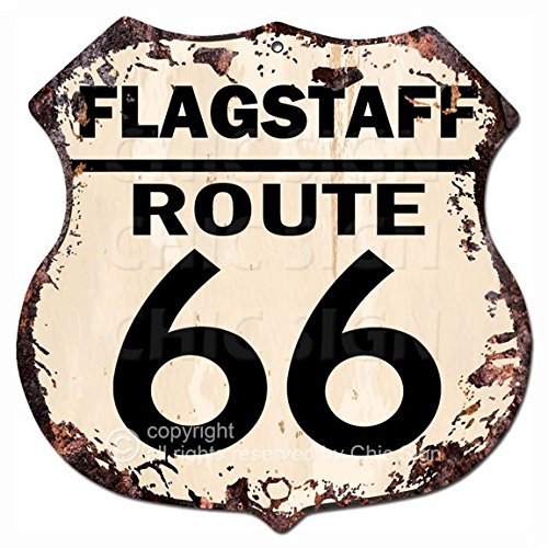 (Chic Sign FLAGSTAFF ROUTE 66 Vintage Retro Rustic 11.5