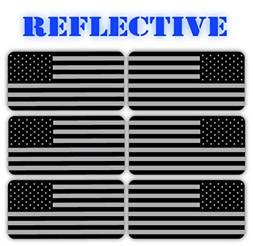(x6) 3M REFLECTIVE Stealthy American Flag Hard Hat Stickers | Black Ops Decals | Tactical Gear Survival Labels | USA Flags Toolbox Helmet Patriotic Old ()
