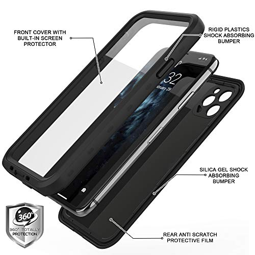 CASELIVE iPhone 11 Pro Max Waterproof Case, Full Body Rugged iPhone 11 Pro Max Case with Screen Protector, Shockproof Dustproof Dirtproof Cell Phone Case for iPhone 11 Pro Max 6.5'' (All Black)