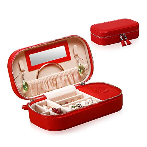 YAPISHI Travel Jewelry Box Organizer for Girls Women, Portable Faux Leather Jewellery Storage Display Case for Rings Earrings Necklace Watch Bracelet ()