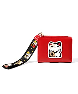 gfjhgkyu Cute Lucky Cat Printed Bifold Coin Purse Card Cash Holder Women Faux Leather Short Wallet Red