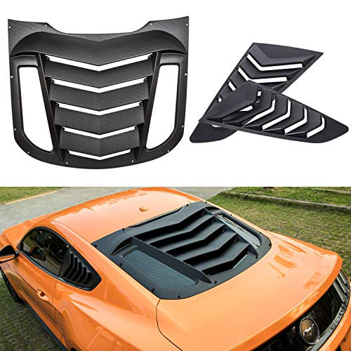 Opall ABS Rear &Quarter Side Window Louvers in Matte Black for Ford Mustang 2015 2016 2017 2018 - Ford Mustang Rear Louver Window