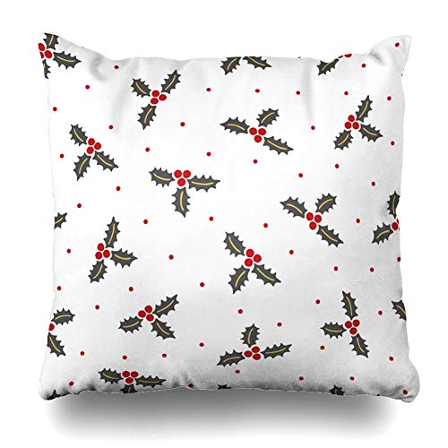 (Ahawoso Throw Pillow Cover Graphic Red Christmas Holly Berry Dots Holidays Floral Nature Celebrate Celebration December Drawing Decorative Zipper Cushion Case Square 16