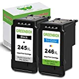 GREENBOX Remanufactured Ink Cartridge Replacement for Canon PG-245XL CL-246XL PG-243 CL-244 High Yield (1 Black, 1 Tri-Color), Used in Canon PIXMA MX492 MX490 IP2820 MG2420 MG2522 MG2920 MG2922 TS302