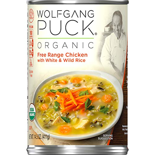 (Wolfgang Puck Organic Free Range Chicken with White & Wild Rice Soup, 14.5 oz. Can (Pack of 12))