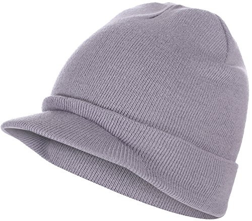 a6b41761ec4 BODY STRENTH Mens Winter Hat With Brim Cable Knit Visor Beanie Hats For  Women and Men