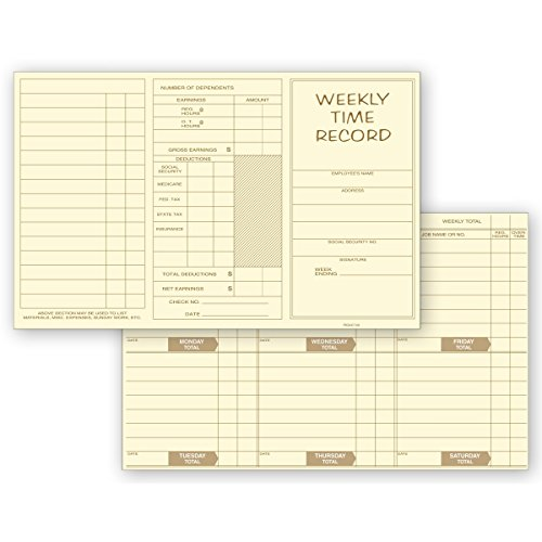 Overtime Cards Time Weekly - CheckSimple Pocket Size Weekly Time Cards - Pre-Printed for Jobs, Hours, Overtime, Earnings, Deductions (1000 Qty)