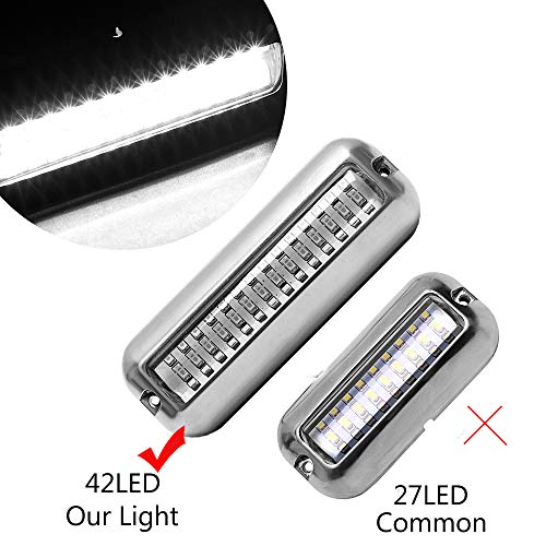 HUSUKU 42LED Waterproof Stainless Steel Trim Ring Boat High-Intensity LED Underwater Light Clear Lens Pontoon Marine/Boat Transom